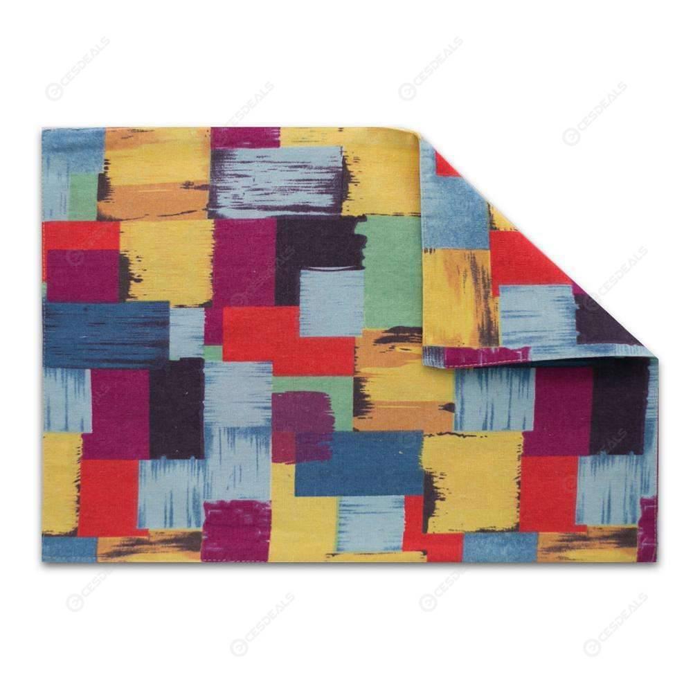 Rectangle Colorful Plaid Cotton Linen Placemat Dining Table Mat Coasters