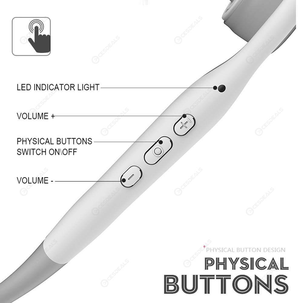 BH128 Bluetooth 5.0 Wireless Headphones Bone Conduction Earphones (White)