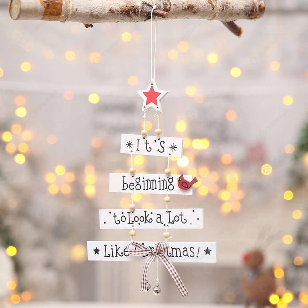 Christmas Decorations Xmas Tree Ornaments Letter Hanging Pendants (White)