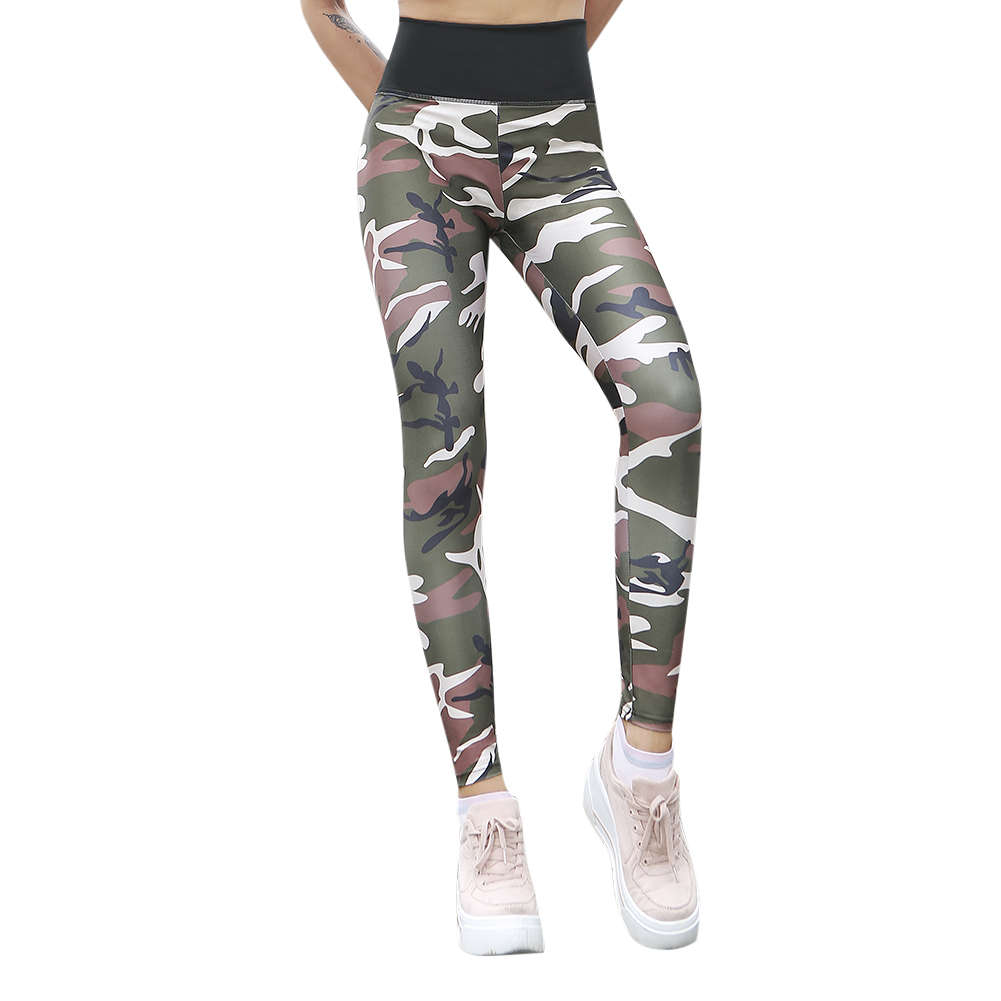 a3791b2b49512 Women Yoga Pants Elastic Fitness Camouflage Print Leggings Sports Slim Pant