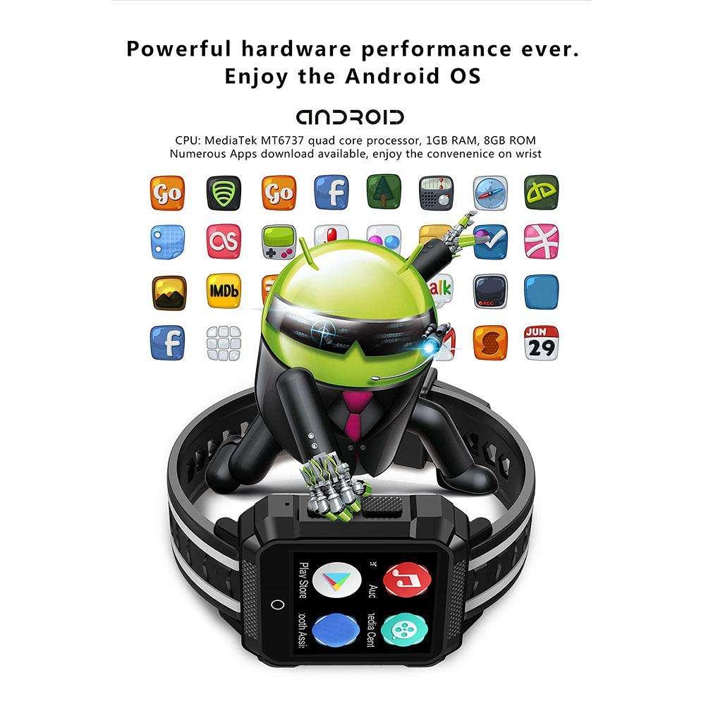 696 H7 4G Smart Watch 1.5in GPS BT4.0 WiFi Waterproof Smartwatch (Black)