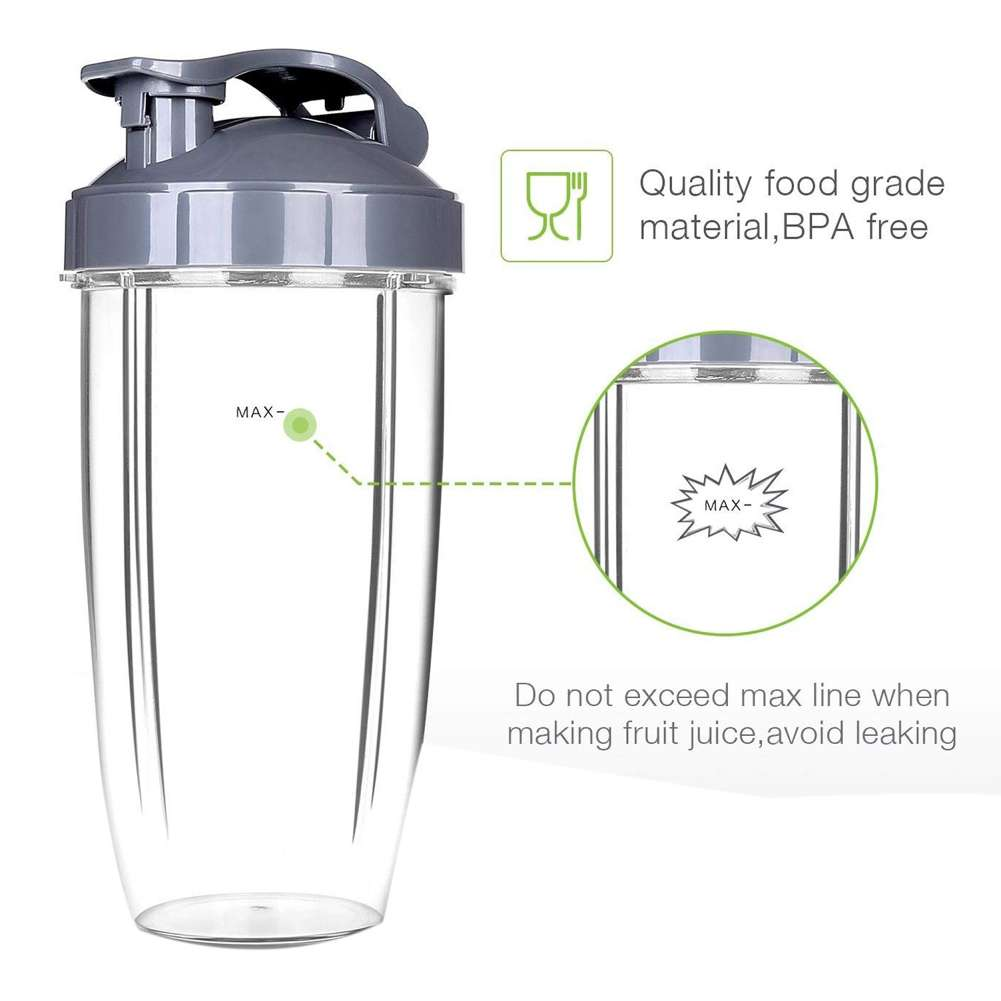 600W/900W Large Universal Replacement for Nutribullet Blender Cups (24 OZ)