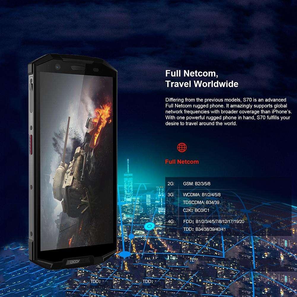 DOOGEE S70 Octa-core Android 8.1 Smartphone 6G RAM 64G ROM NFC IP68 (Black)
