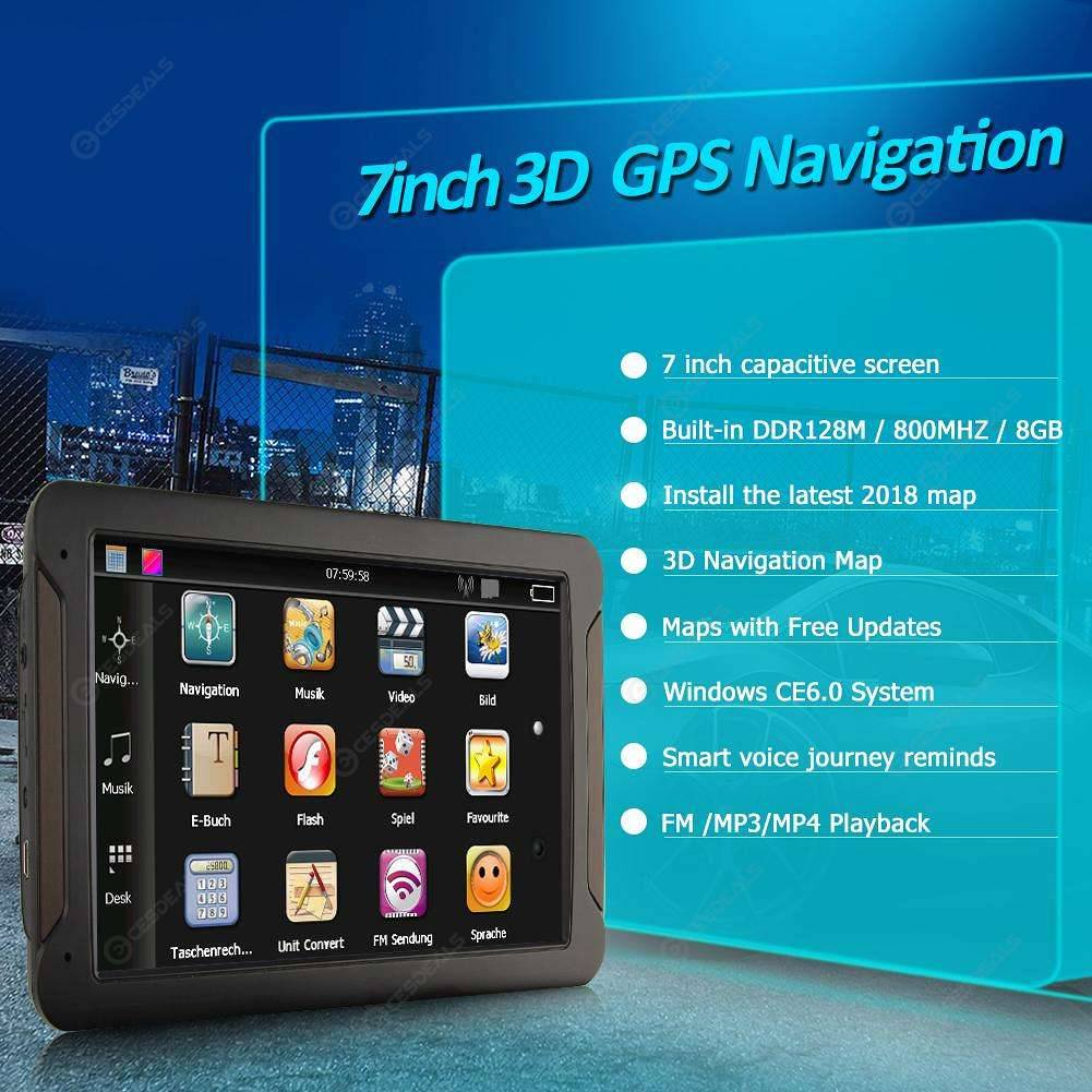 7Inch 8G Capacitive Touch Screen Console Car GPS Navigator w//TF Card Slot ABS