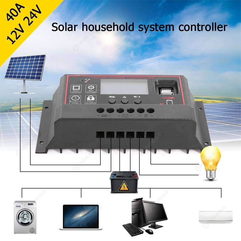 12V/24V HD LCD Solar Charge Controller PWM Dual USB Output Charger (40A)