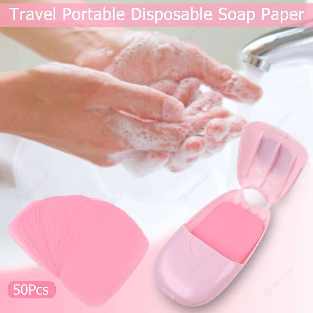 Travel Portable Disposable Soap Paper Washing Scented Slice Sheets (Pink)