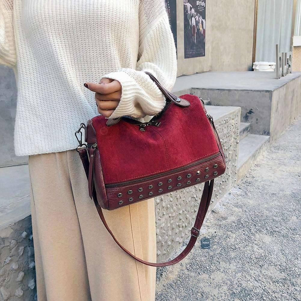 Vintage Crossbody Bag For Women Nubuck Leather Handbags Rivet Larger Messenger Bag
