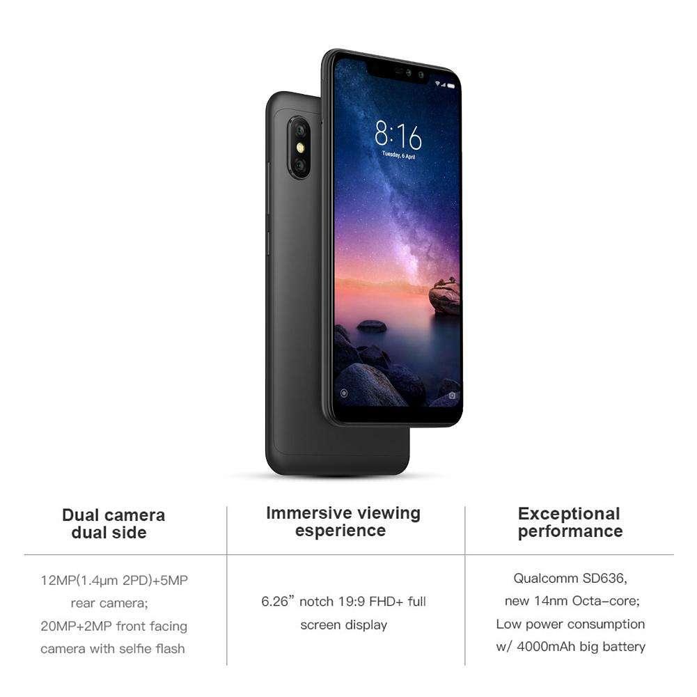 Global Version Xiaomi Redmi Note 6 Pro Octa Core 4G Phone w/4+64GB (Black)