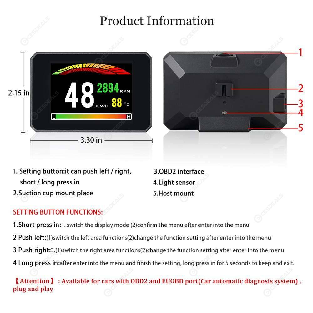 3.9Inch TFT Color Screen Head Up Display OBD2 Car HUD Sdometer ... on