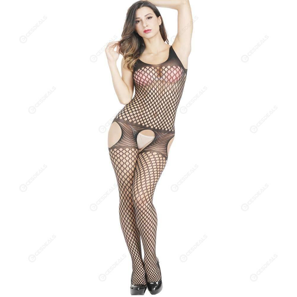 11d95c127f33 Sexy Open Crotch Lingerie Jumpsuit Fishnet Underwear Mesh Bodysuit (Black)  ...