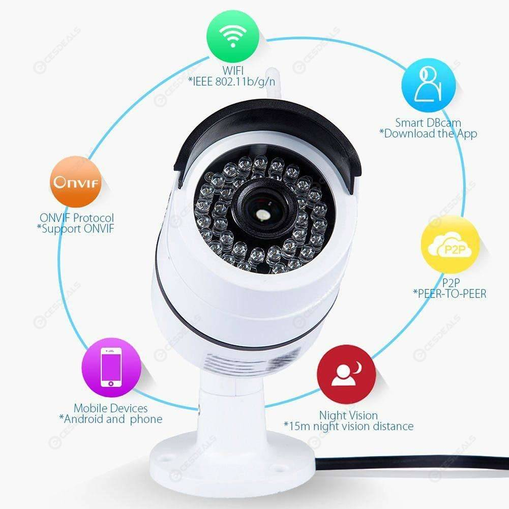 Wireless WIFI IP Camera Onvif Waterproof Mobile Detection Recorder (1080P)