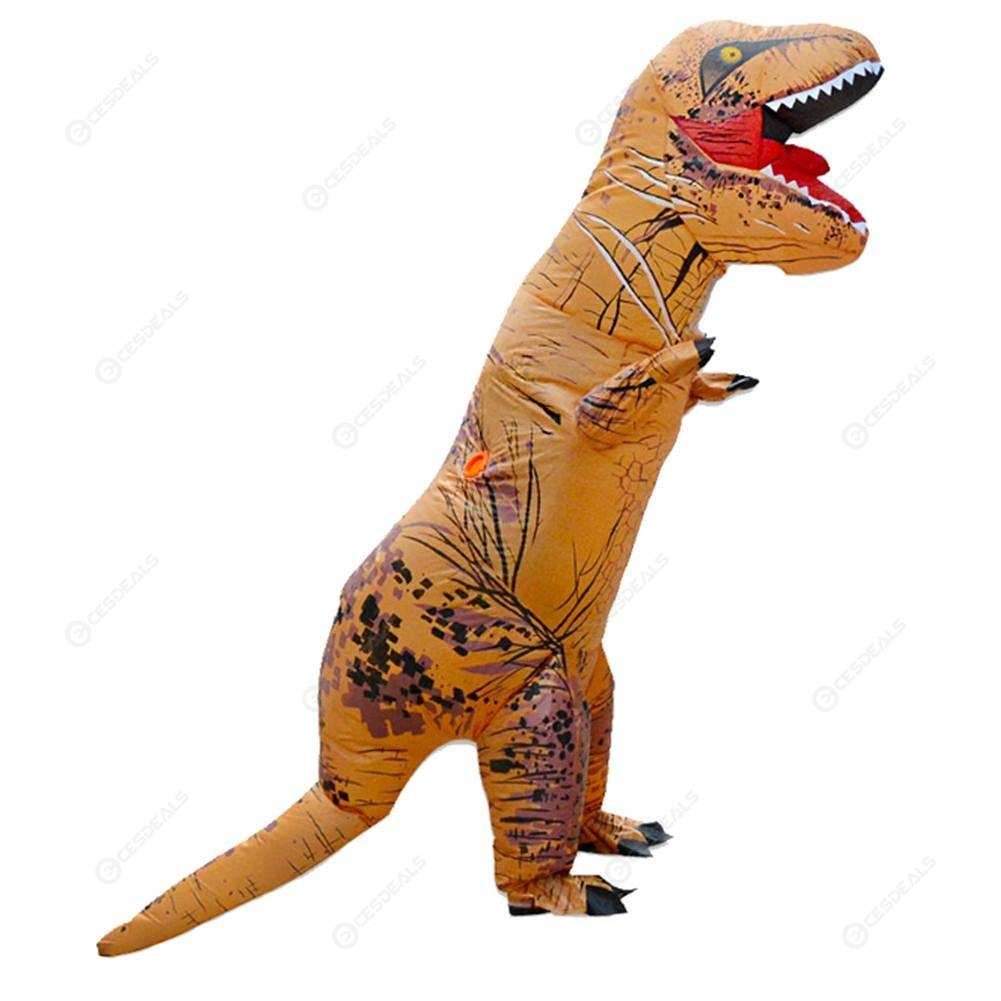 Party Adult Inflatable Dinosaur Costume T Rex Halloween Cosplay Suit (Camel