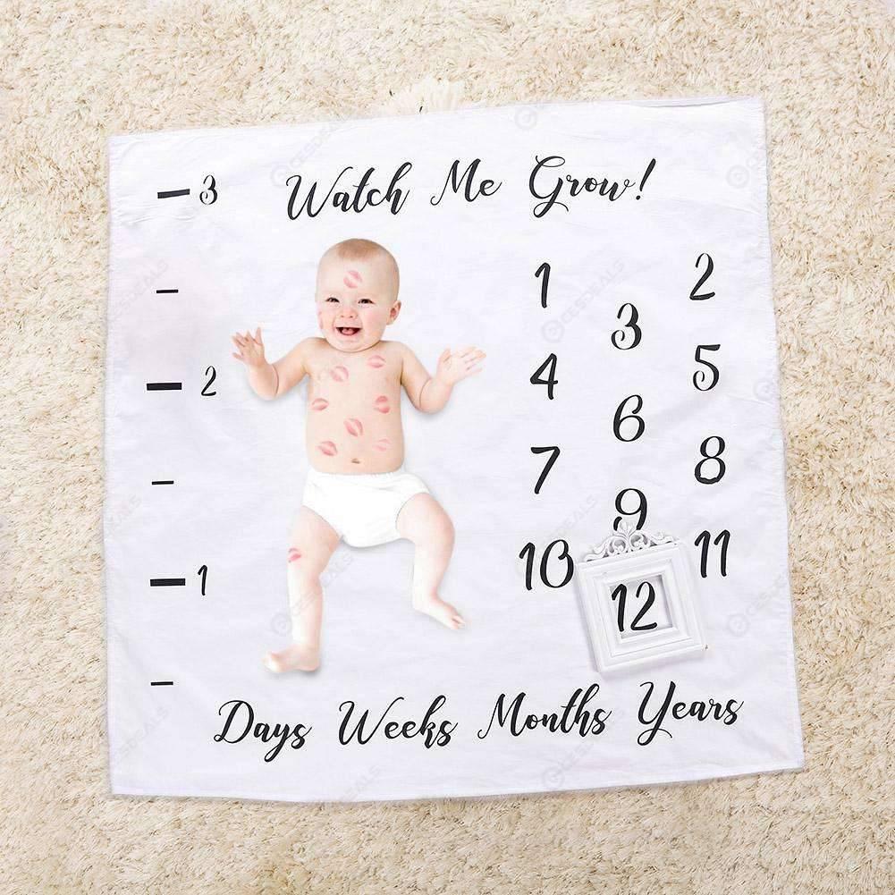 Newborn Letter Print Background Blankets Baby Milestone Blanket Photo Prop