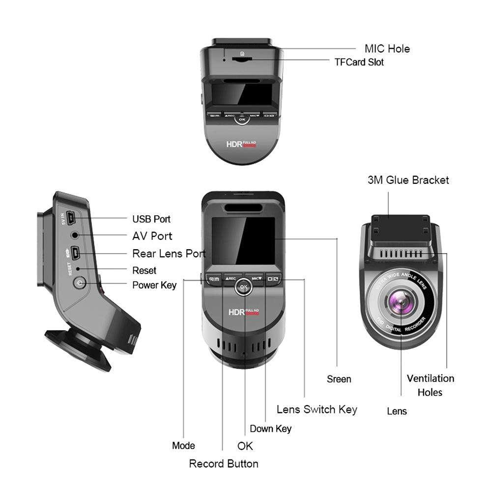 T691C 2 Inch 4K 2160P Dash Cam 170 Degree Lens Car DVR Camera (Single Lens)