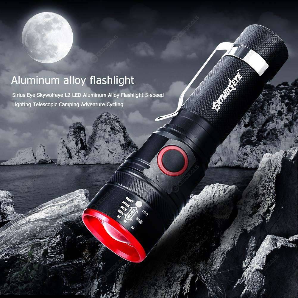 T6 LED 3 Mode USB Rechargeable Flashlight Torch Telescopic Zoom Riding Lamp