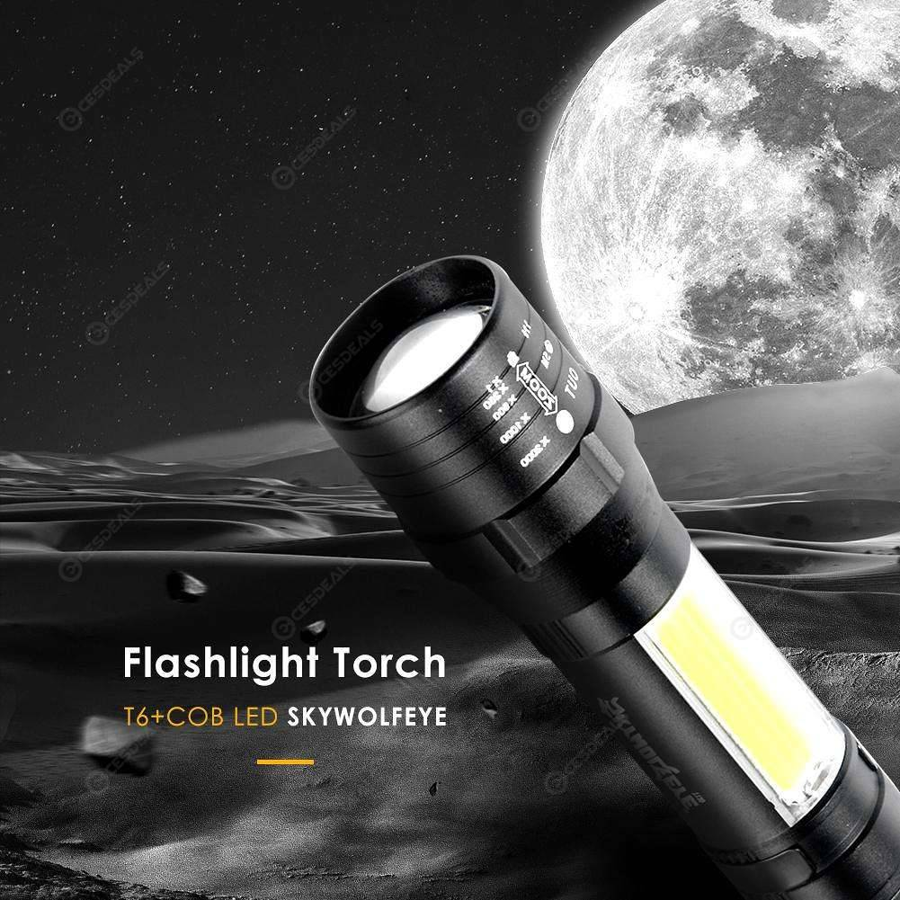 Skywolfeye Zoomable T6+COB LED Flashlight USB Rechargeable 4 Modes Torch