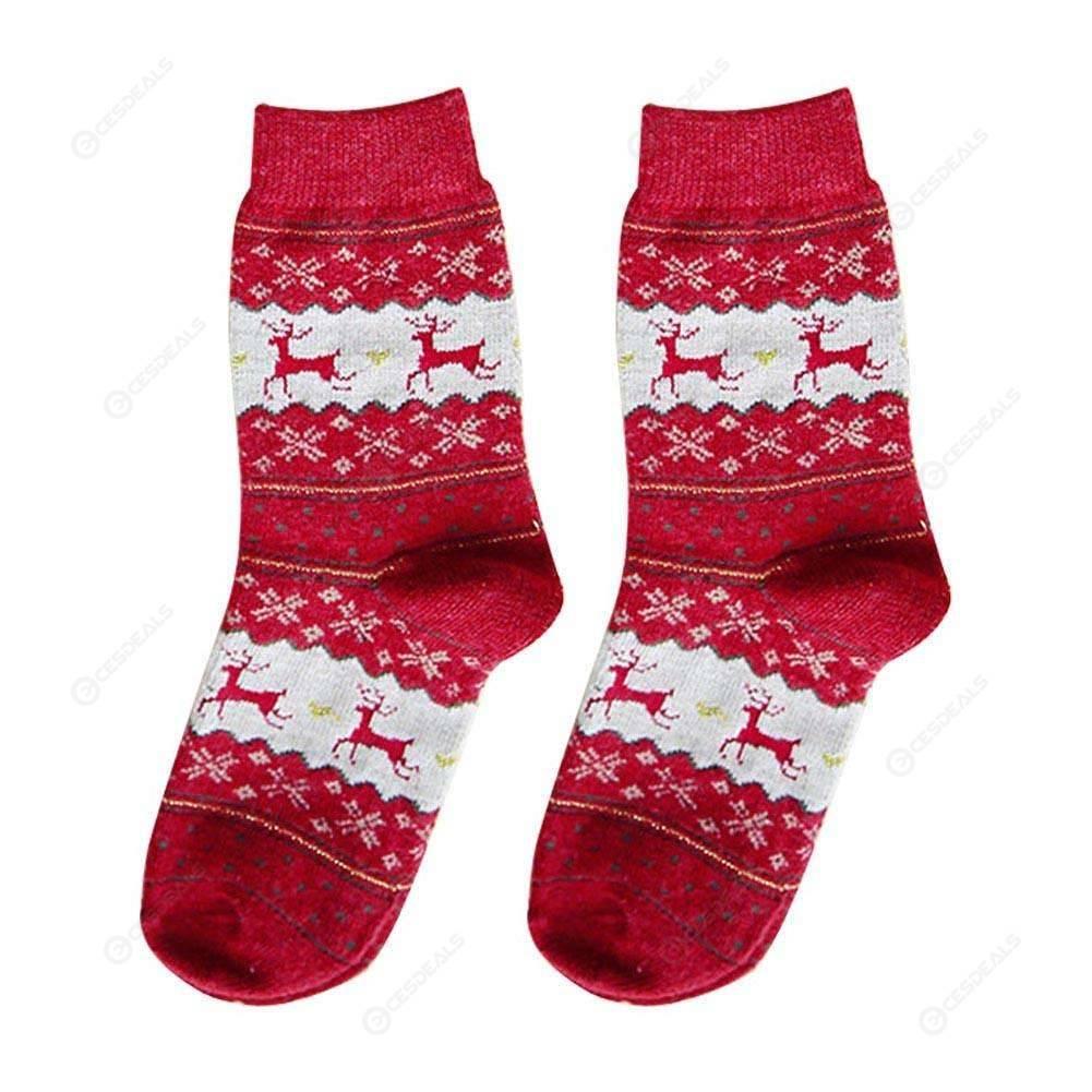 Women Ladies Cartoon Elk Print Knitted Socks Christmas Thicken Anti-slip Socks