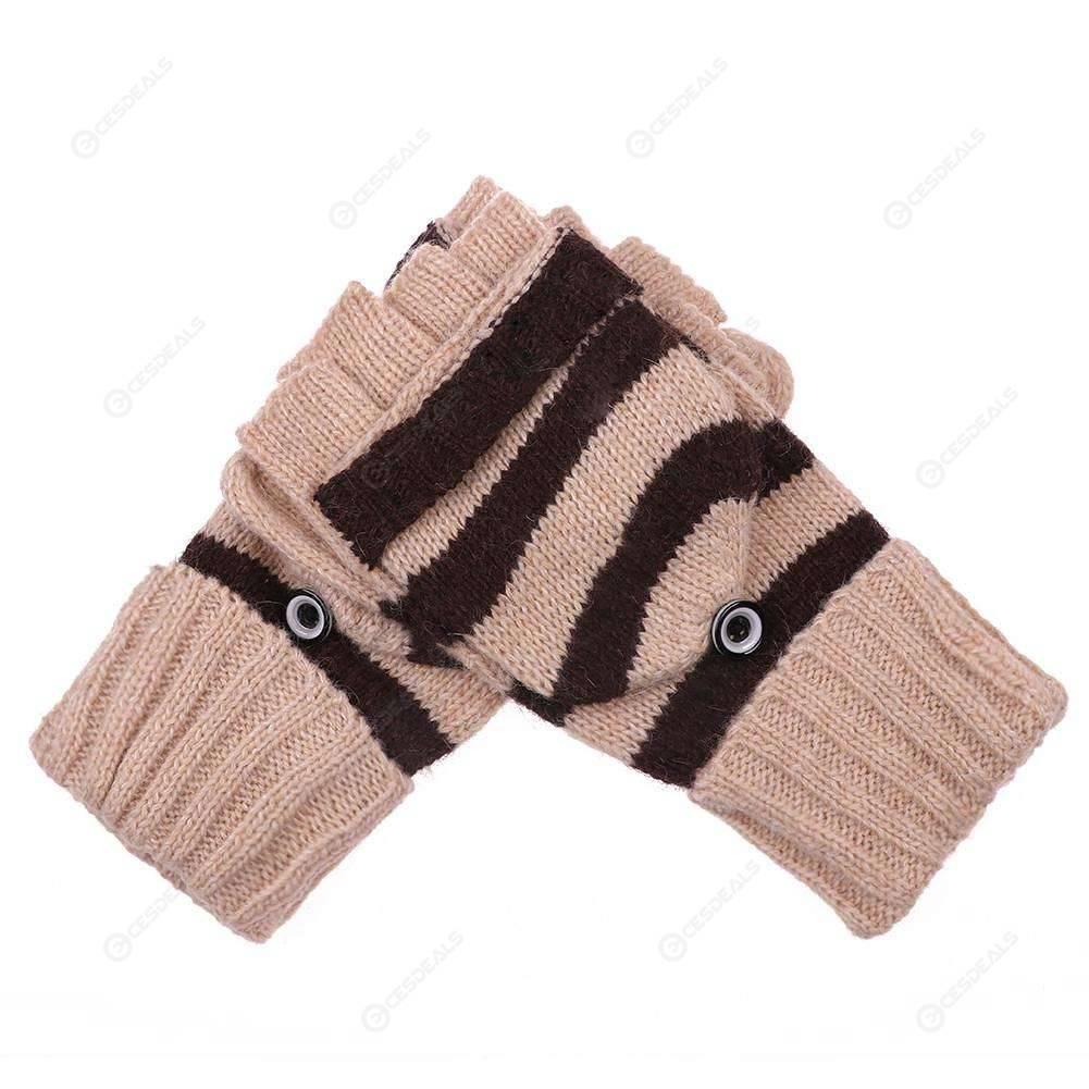 f51ec5172 Cashmere Stripe Knitted Fingerless Winter Warm Flip Gloves (Beige)(Coffee  ...