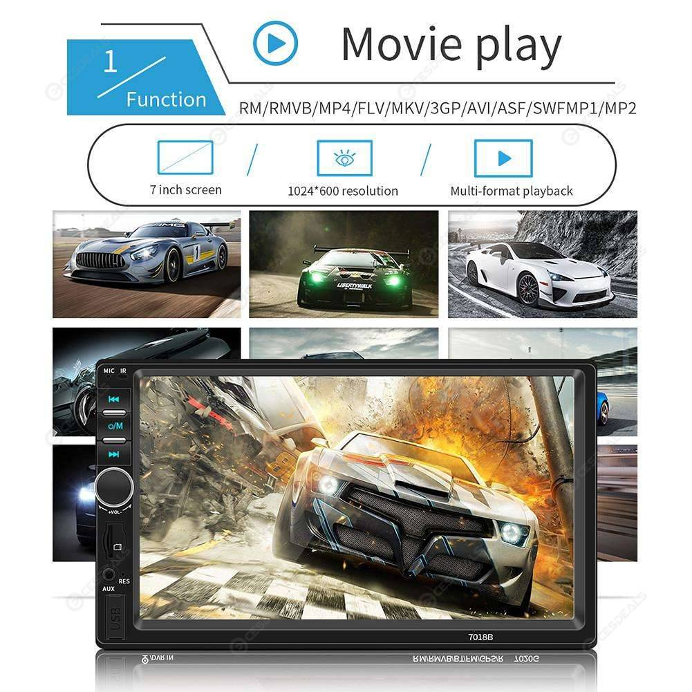 7018B Car Radio 7 Inch Dash Audio MP5 Player 1080P Rear View (w/ Camera)