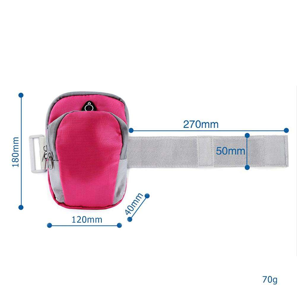 Sport Armband Case Cover Waterproof Phone Holder w/Earphone Hole (Rose Red)