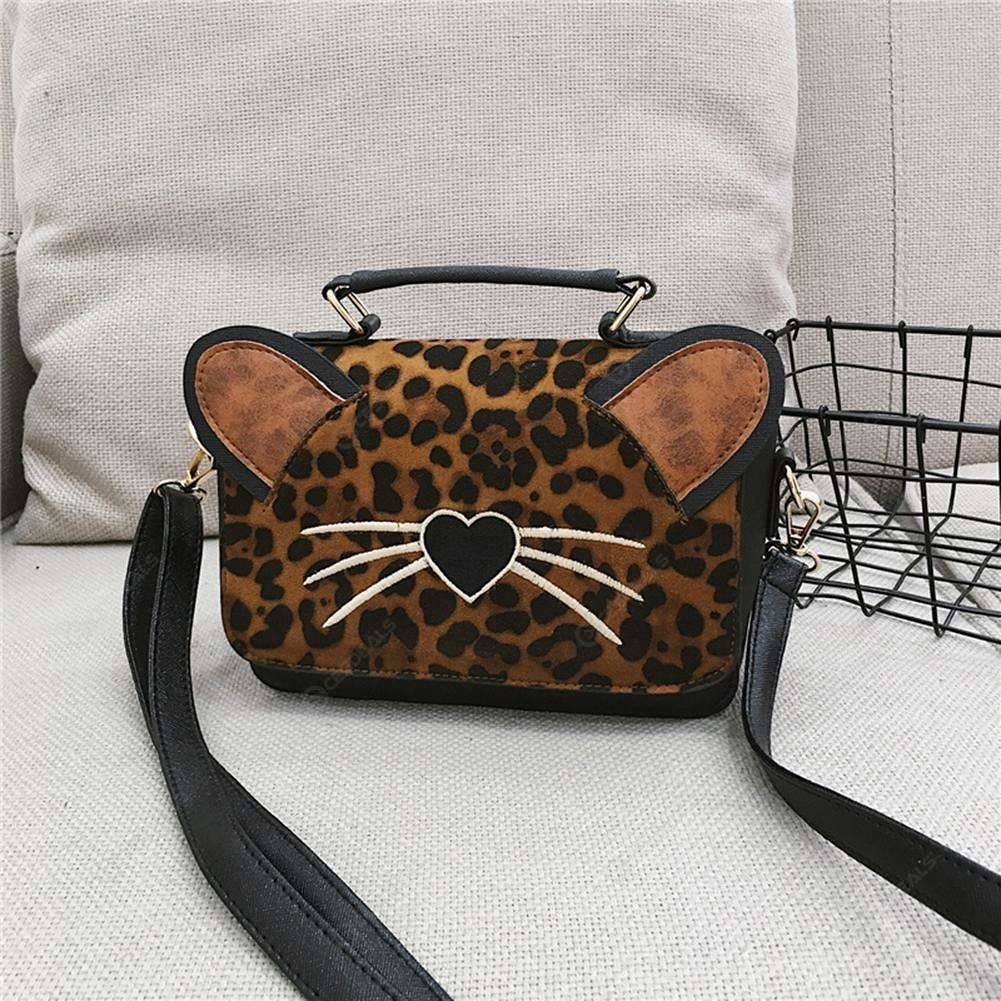Women Cat Leopard Shoulder Bag Leather Handbag Crossbody Messenger Bags