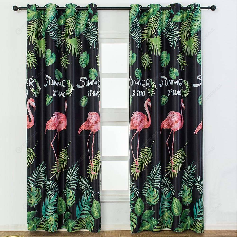 Pink Birds Printed Home Blackout Curtains Bedroom Windows Decorative Drapes