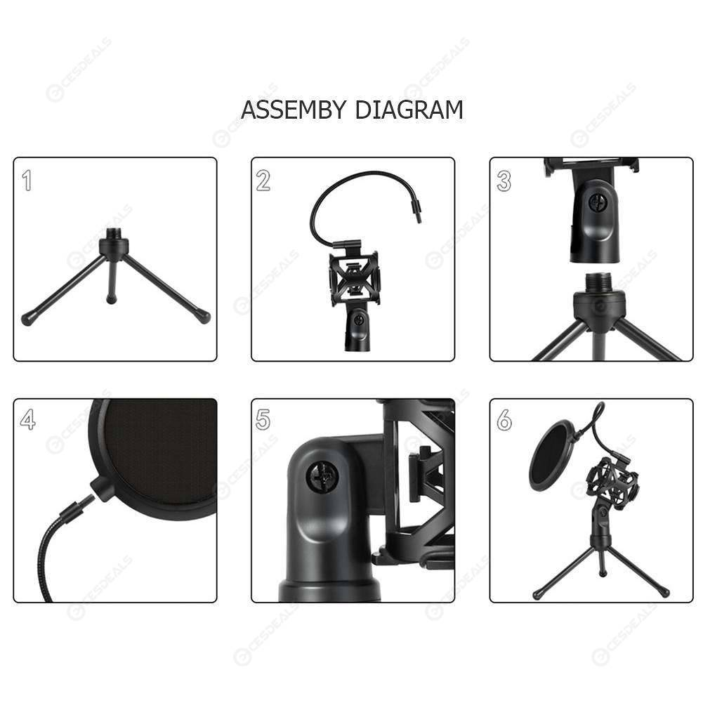 Foldable Microphone Shockproof Shock Mount Filter Bracket Stand Mic Tripod