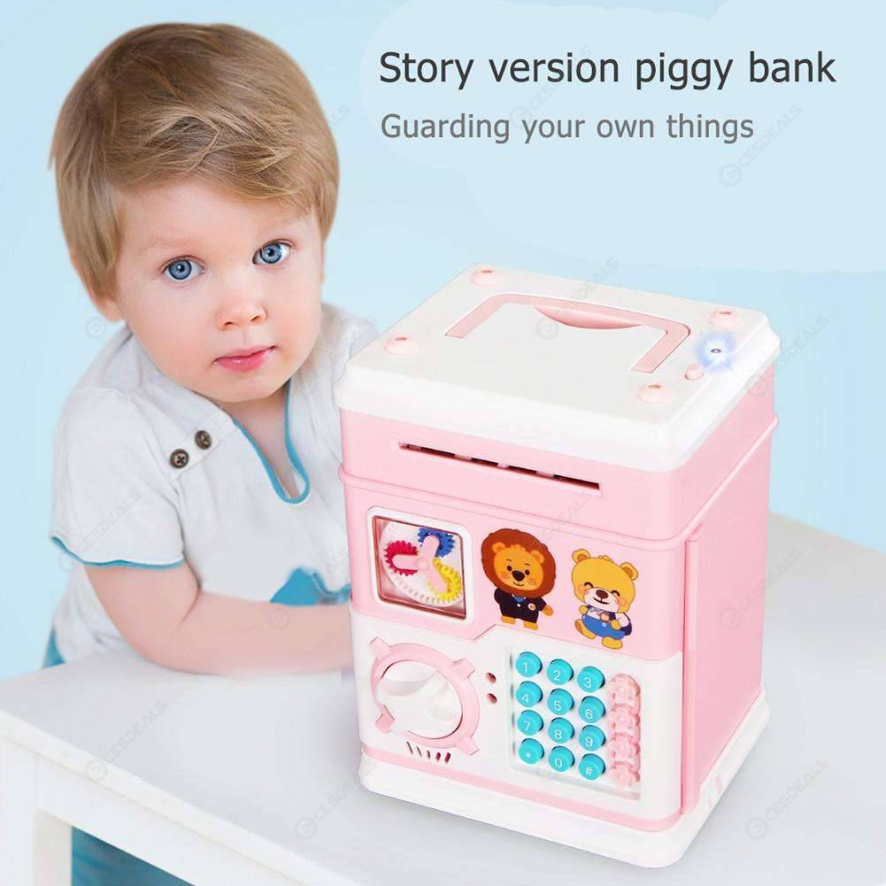 Kids Story Music Piggy Bank ATM Password Money Box Cash Coins Saving Boxes ABS