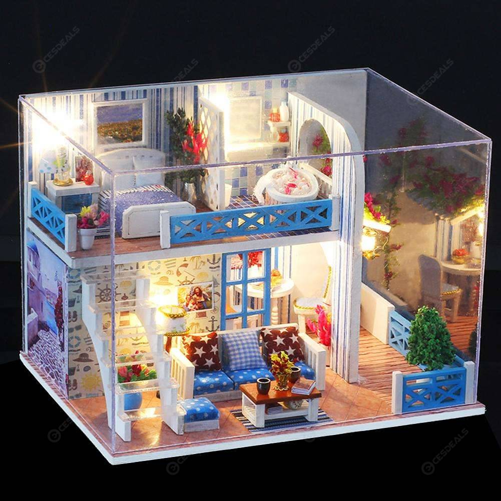 Wooden DIY Seaview House Toy Assembly Building Model Miniature Dollhouse