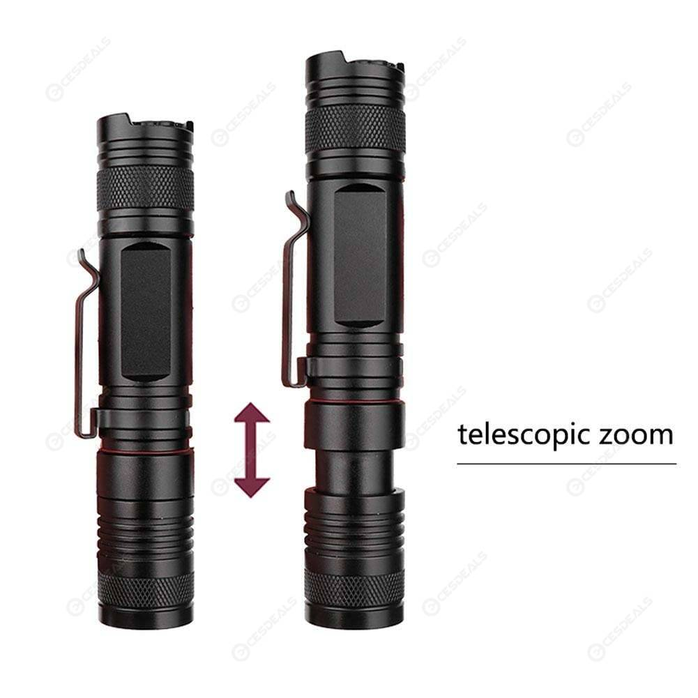 1000LM T6 LED Flashlight Zoomable 5 Modes IP44 Waterproof Outdoor Torch