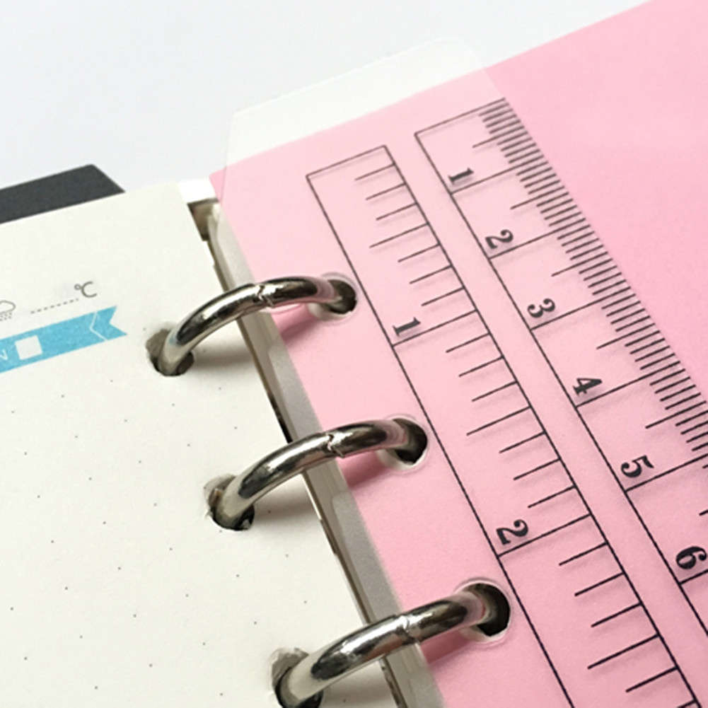PVC Separator Bookmark Ruler 6 Holes Binder Notebook
