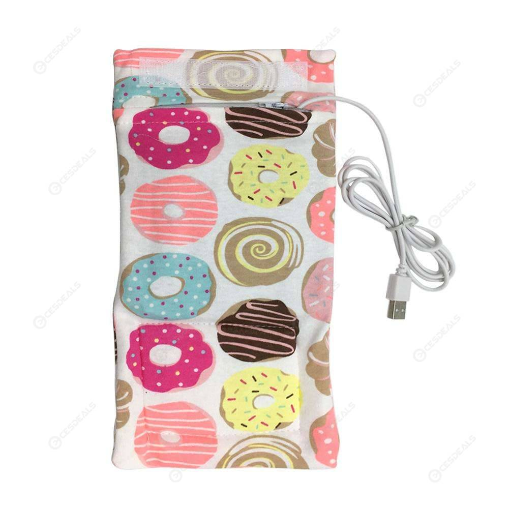 USB Bottle Warmer Portable Baby Outdoor Milk Feeding Insulated Bag (Donut
