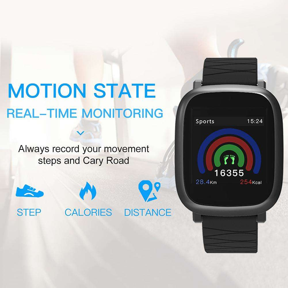 Smart Bracelet Fitness Tracker Heart Rate Blood Pressure Pedometer (Black)