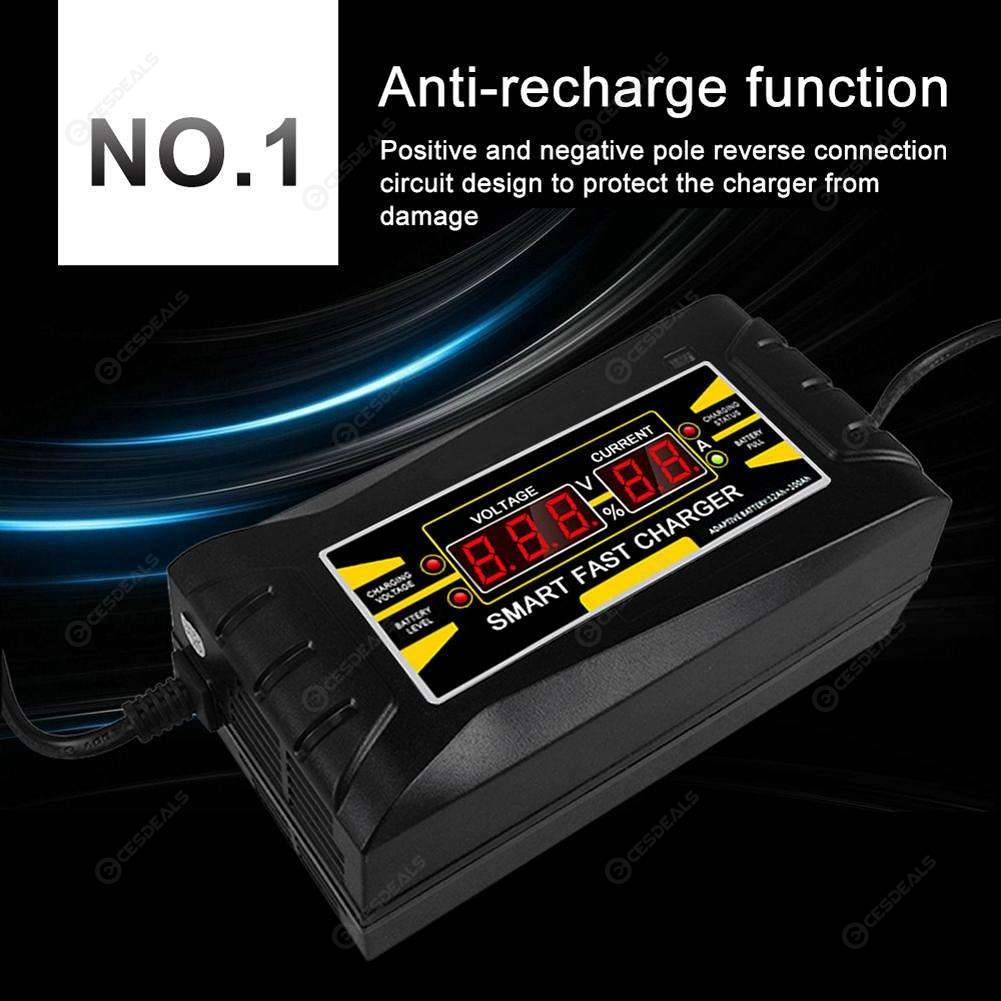 12V 6A Smart Fast Lead-acid Battery Charger for Car Motorcycle LCD Display US//EU