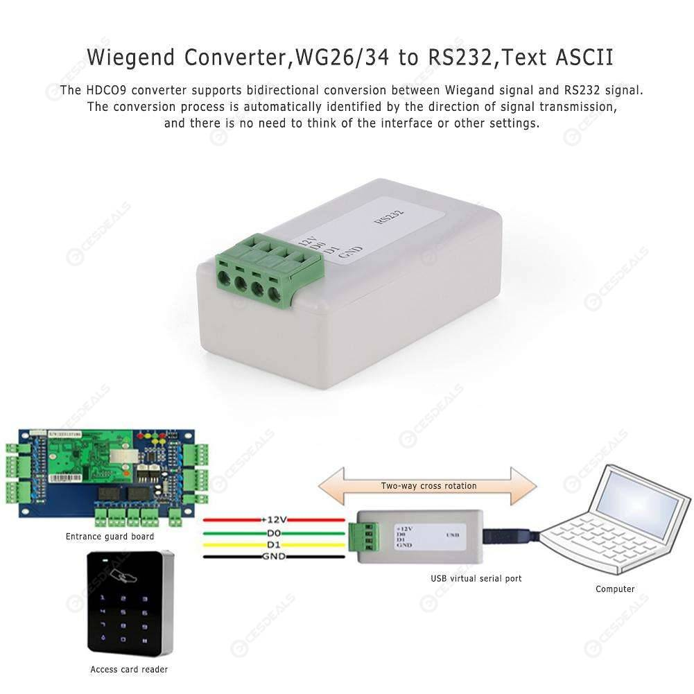 Wiegend Converter WG26/34 to RS232 DB9 Male Text ASCII Input and Output