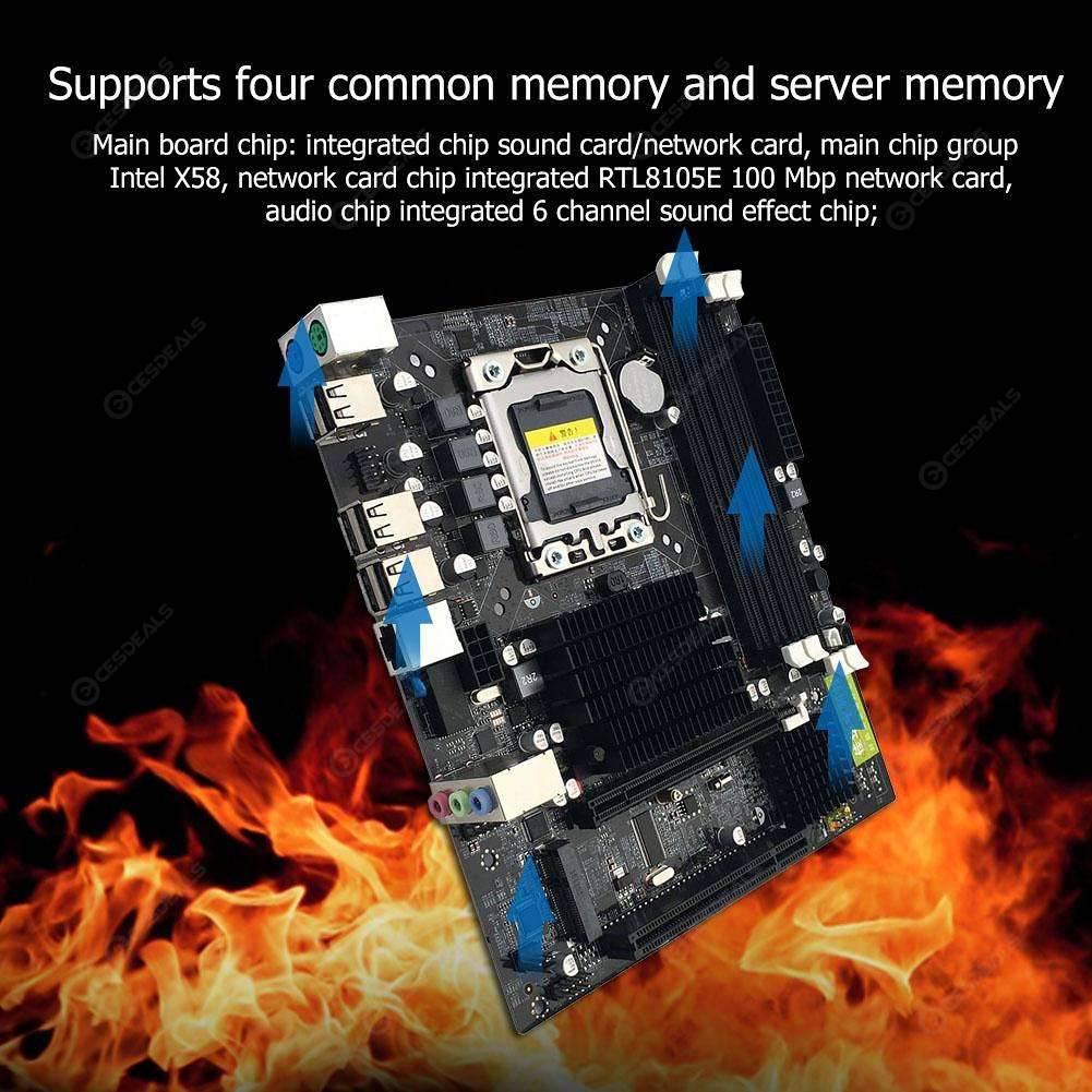 X58 Desktop Motherboard LGA 1366Pin DDR3 Motherboard for L/E5520 X5650 RECC