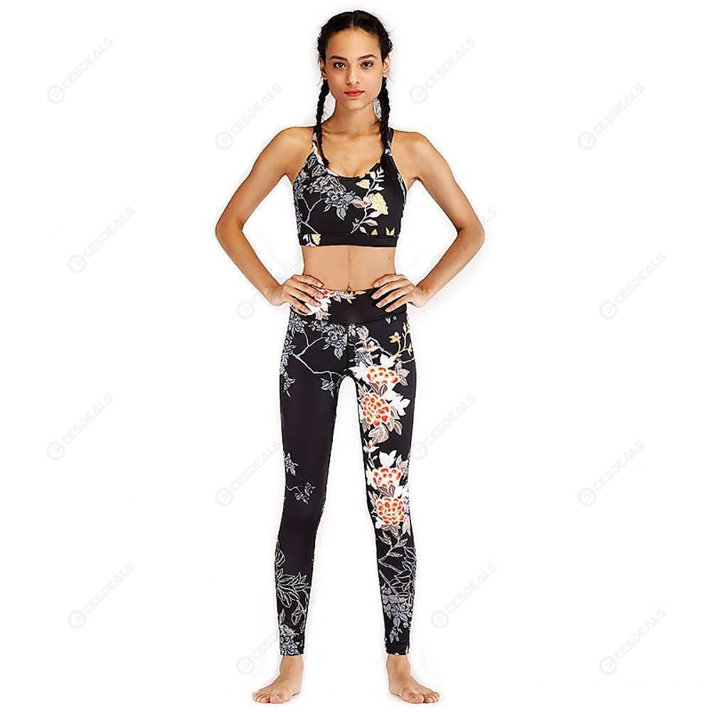 97d66994a95c 2pcs/set Women Sports Pants Tops Flower Print Yoga Tight Leggings Vest (S)  ...