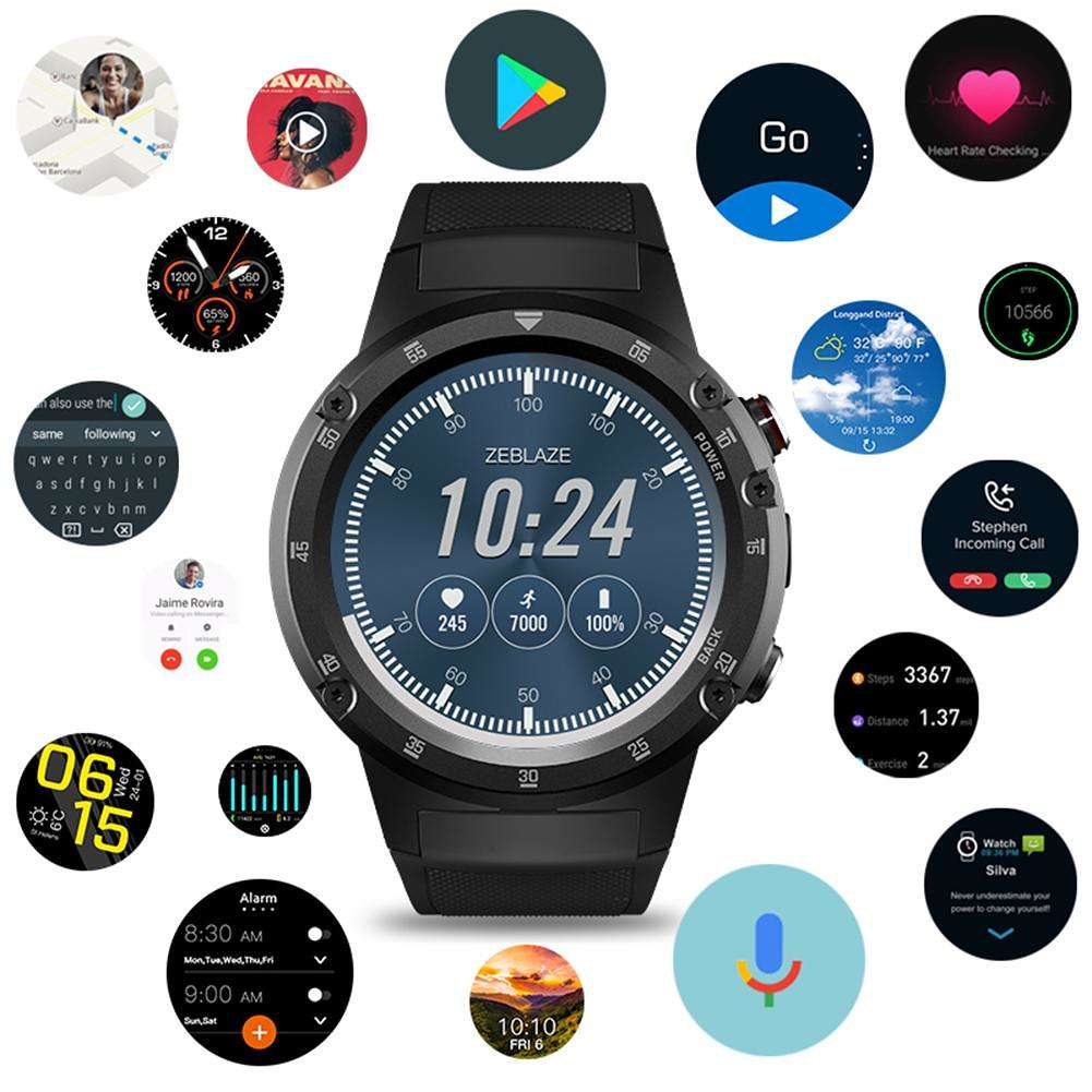 Zeblaze THOR 4 Plus 4G Global AMOLED Android 7.1 Smart Watch Phone (Black)