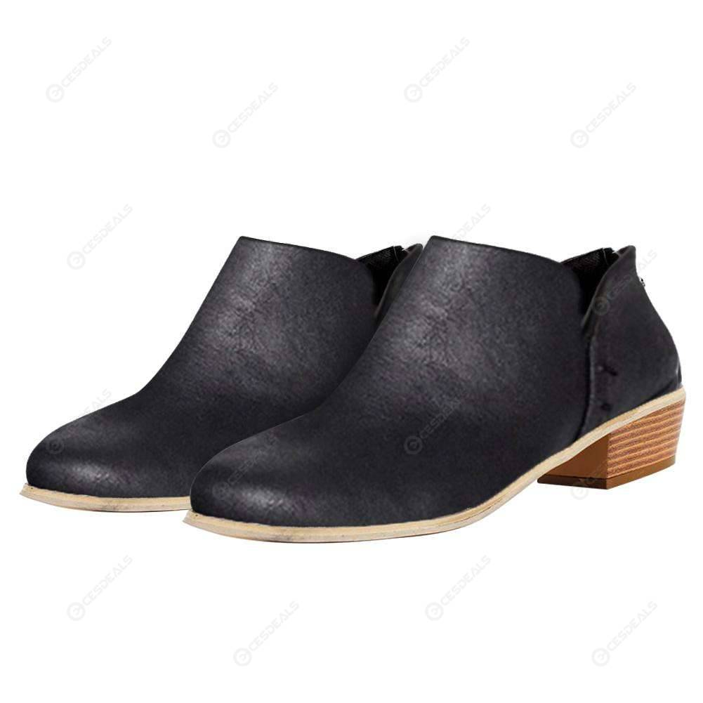 cc8796e9ed8fb Womens Low Flat Heels Short Ankle Boots Pointed Toe Casual Boot (Black 7)  ...