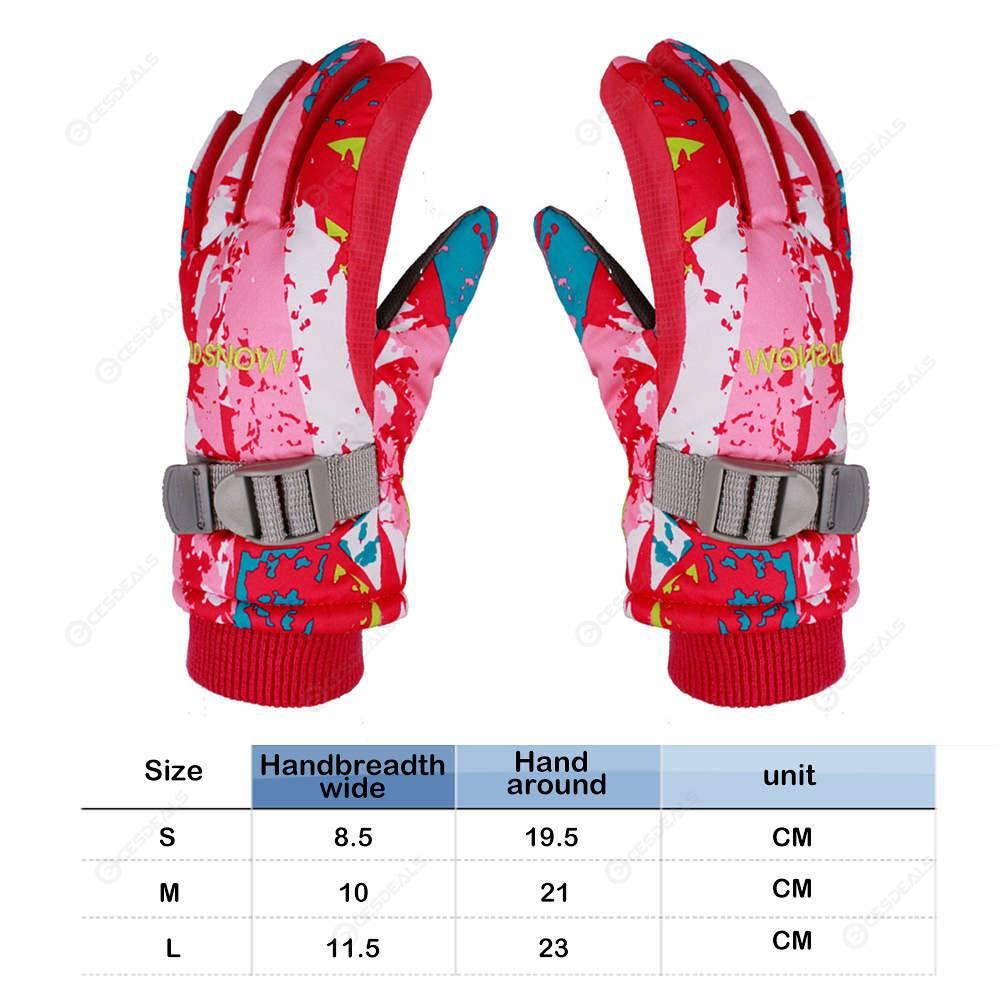 Boys Girls Winter Warm Sports Waterproof Windproof Non-slip Snow Skiing Gloves