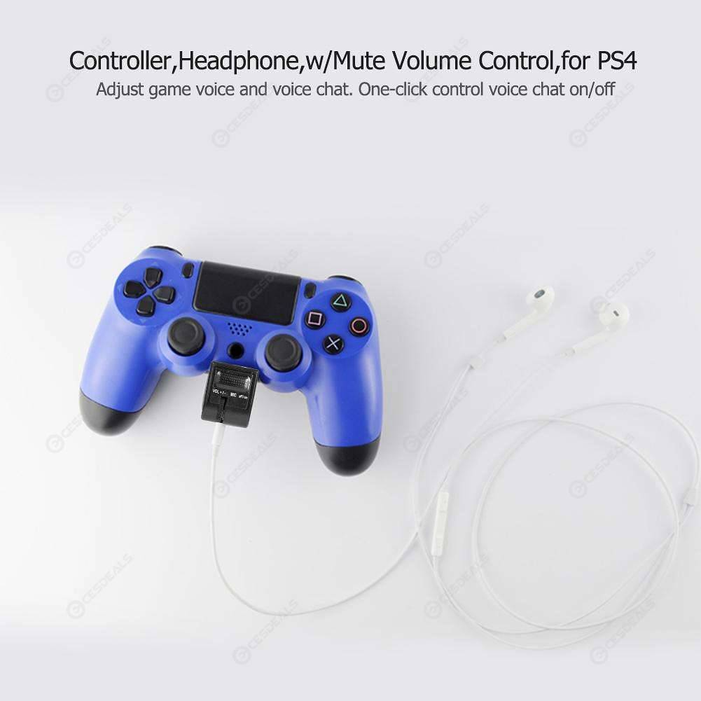 3 5mm Audio Controller Headphone Adapter with Mute Volume Control for PS4