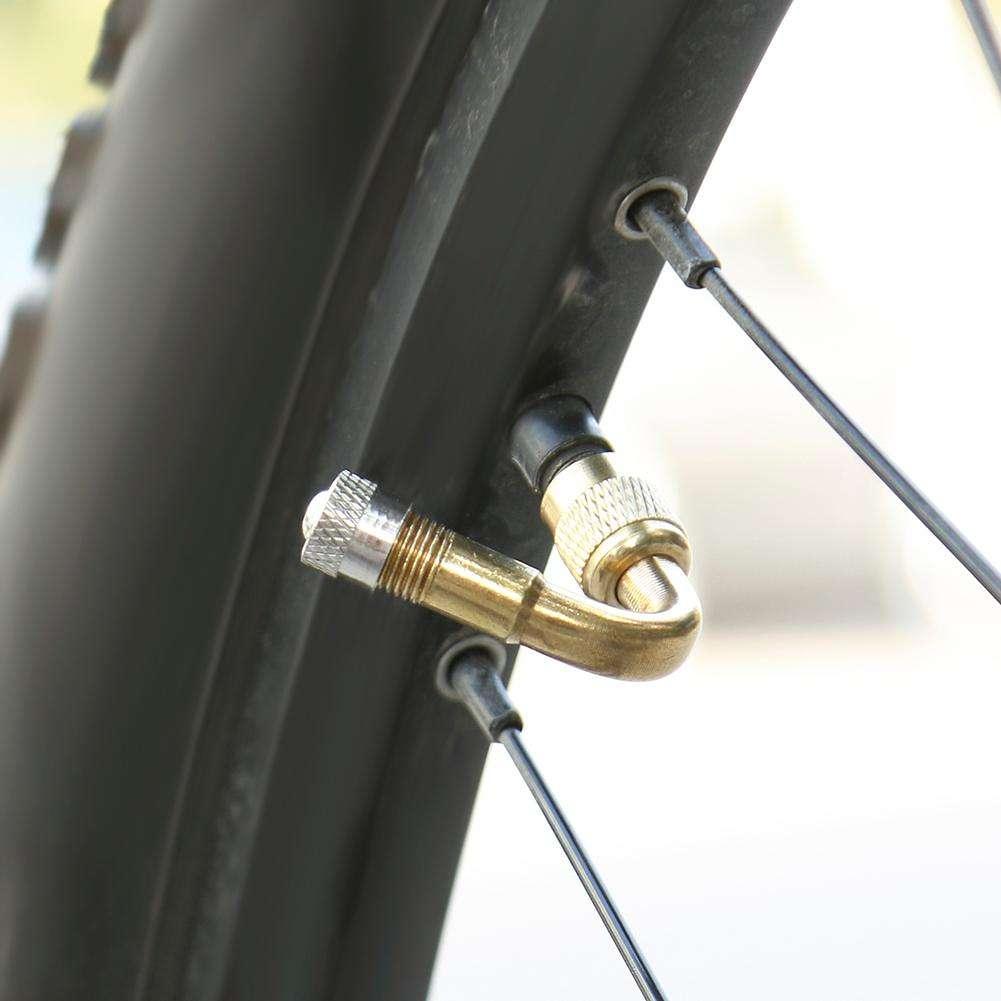 45 Degree Brass Air Tyre Valve Schrader Stem Extension Adapter (Gold)