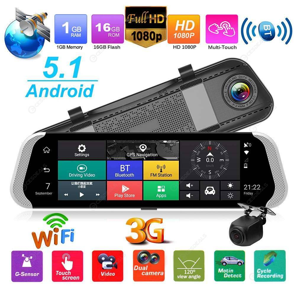 10 Inch 3G Car Rearview Mirror DVR Camera Dual Lens Android 5.1 Dash Cam