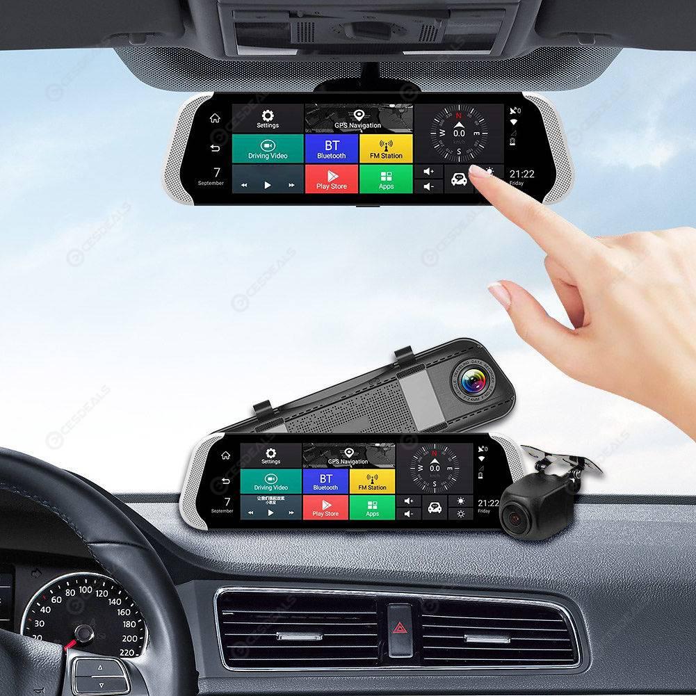 3g GSM auto DVR retrovisor con Android GPS Dash cam Bluetooth camara de vision trasera