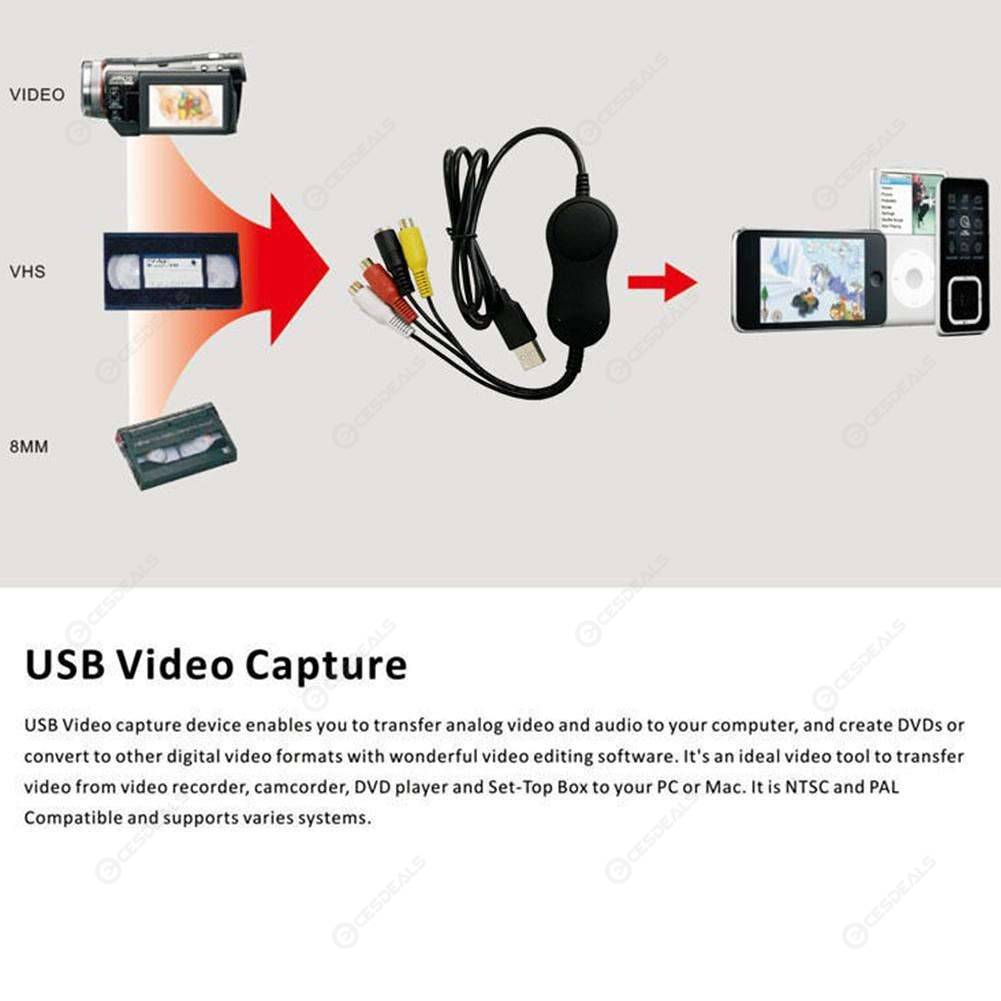 USB2 0 UVC Audio Video Capture Card Adapter Recorder for Android Win OSX