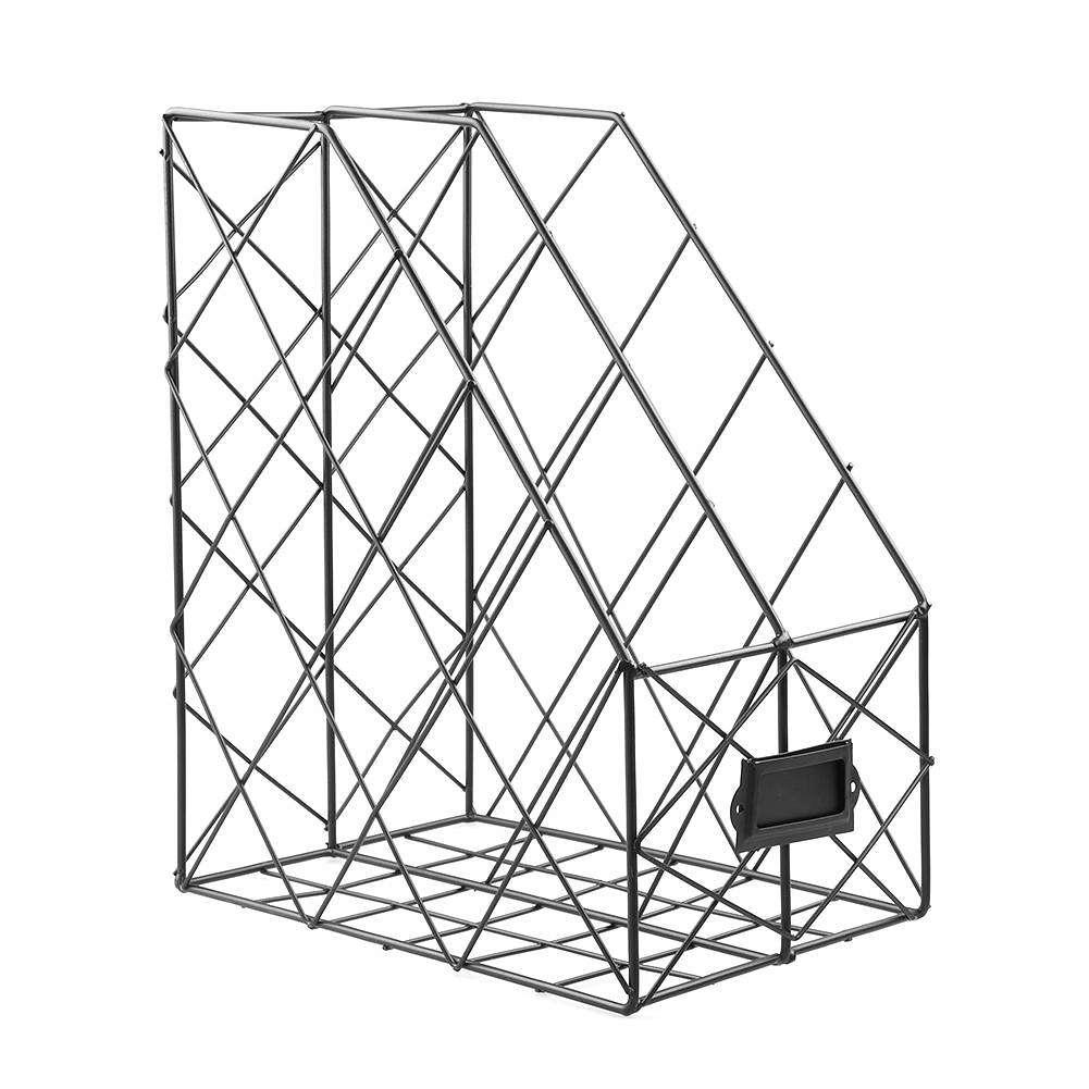 iron grid storage rack metal double layers desktop book file display shelf