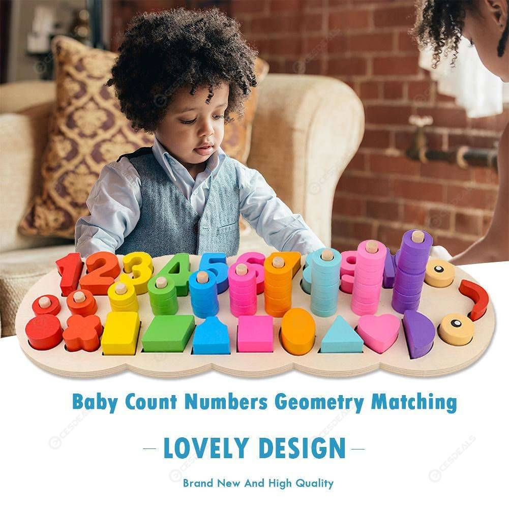 Baby Wood Montessori Count Numbers Geometry Matching Early Educational Toys