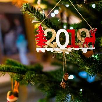 2019 Christmas New Year Door Hang Pendant Wood Xmas Tree Ornament Decor (A)