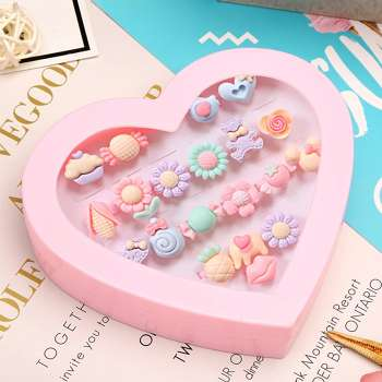 20pcs Kids Cartoon Resin Rings Girls Adjustable Jewelry with Love Gift Box