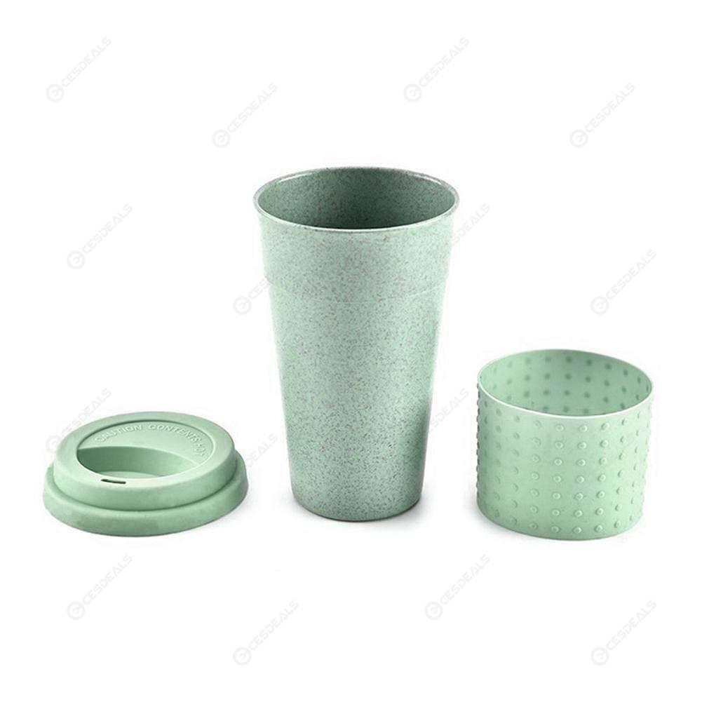 330mL Creative Wheat Straw Coffee Tea Mug Cups Reusable Water Bottle (Green